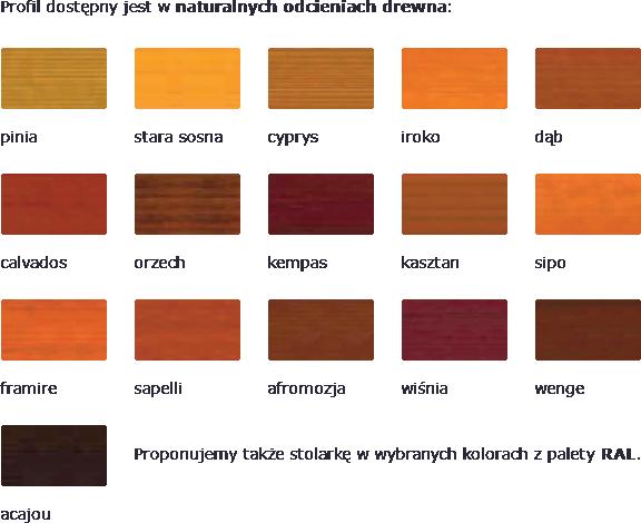 Profil dostępny jest w naturalnych odcieniach drewna: pinia, stara sosna, cyprys, iroko, dąb, calvados, orzech, kempas, kasztan, sipo, framire, sapelli, afromozja, wiśnia, wenge, acajou. Proponujemy także stolarkę w wybranych kolorach z palety RAL.